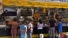 Chicken Vendor - Farmers Market - Arras France Stock Footage