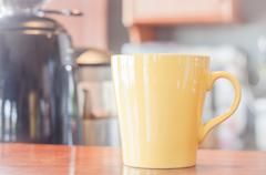 Coffee mug in coffee shop Stock Photos