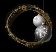 Black and Silver Christmas bulbs - stock illustration