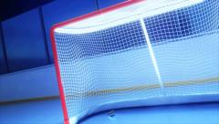 Hockey rink with stick shots on puck crossing goal line Stock Footage