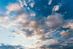 Sky, Bright Blue And White Colors. Instant Photo, Toned Image Stock Photos