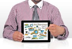 Businessman Internet Online Job Search application Concept with smratphone sc Stock Photos