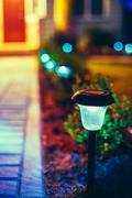 Small Solar Garden Light, Lantern In Flower Bed. Garden Design. - stock photo