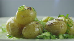 Garnish Potato Dish. Stock Footage