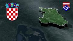 Karlovac whit Coat of arms animation map Stock Footage