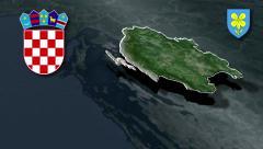 Lika-Senj whit Coat of arms animation map - stock footage