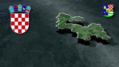 Zagreb whit Coat of arms animation map Stock Footage