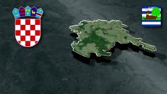 Vukovar-Srijem whit Coat of arms animation map - stock footage