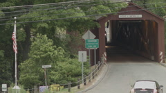West Cornwall Covered Bridge, Truck & Village Stock Footage