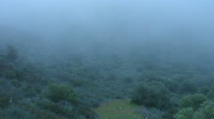 Mist covering mountains timelapse, weird place, mysterious atmosphere, thriller - stock footage