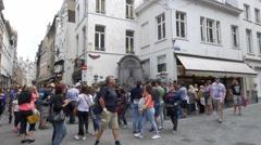 Tourists in front of Manneken Pis - Brussels Belguim Stock Footage