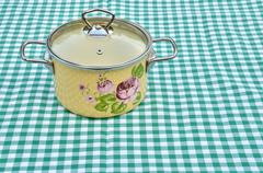 Casserole with floral pattern Stock Photos