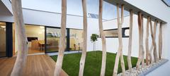 modern home with impressive pillars - stock photo