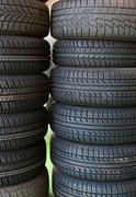 tires at tire service - stock photo