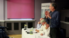 Peter Tatchell controversial talk about cuts - stock footage