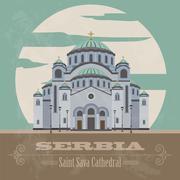 Stock Illustration of Serbia landmarks. Retro styled image