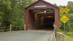 West Cornwall Covered Bridge - Pickup Truck, One Lane, Height Warnings - stock footage