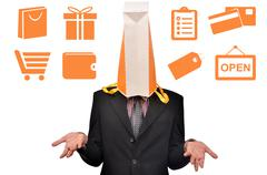 Men head covered with shopping Stock Photos
