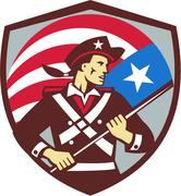 American Patriot Holding Brandish USA Flag Crest Retro - stock illustration