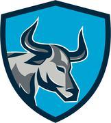 Texas Longhorn Bull Head Shield Retro - stock illustration