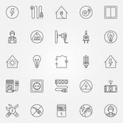 Electricity icons set - stock illustration
