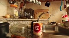 Panning shot in the kitchen Stock Footage