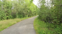 Jogging track in the forest park Stock Footage