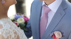 Wedding couple holding hands Stock Footage