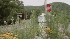 West Cornwall downtown, covered bridge, sign, flowers Stock Footage