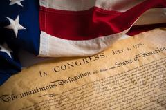 United States Declaration of Independence with vintage flag - stock photo