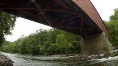 West Cornwall Covered Bridge, Housatonic River, architecture Stock Footage