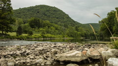 River Landscape, West Cornwall, CT Housatonic, Mountains Stock Footage