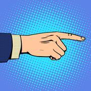 Hand pointing finger man - stock illustration
