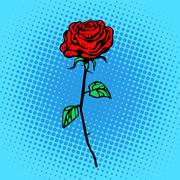Flower red rose stem with thorns - stock illustration