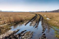 Dirt road in steppe Stock Photos