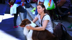 Woman with her best friend dog Stock Footage
