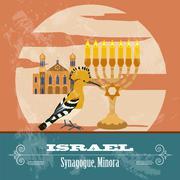 Israel landmarks. Retro styled image - stock illustration