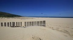 Beautiful view on beach and ocean, Spain, Tarifa Stock Footage