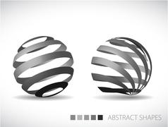 Collection of abstract spheres - stock illustration