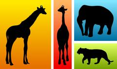Animals from safari / zoo Stock Illustration
