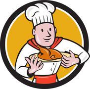 Chef Cook Roast Chicken Dish Circle Cartoon Stock Illustration