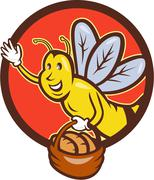 Bee Carrying Basket With Bread Circle Cartoon Stock Illustration