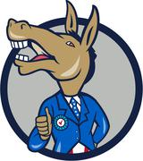 Democrat Donkey Mascot Thumbs Up Circle Cartoon Stock Illustration