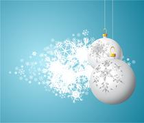 Stock Illustration of White Christmas bulbs with snowflakes