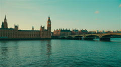 Big Ben, Westminster and Houses of Parliament by the Golden Hour - stock footage