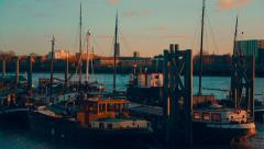 Traditional Boats by the Thames River Stock Footage