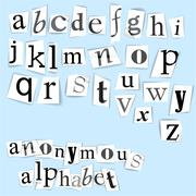 Anonymous alphabet Stock Illustration