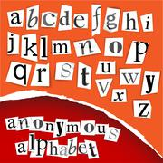 Stock Illustration of Anonymous alphabet - white clippings