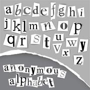 Anonymous alphabet made from newspapers Stock Illustration