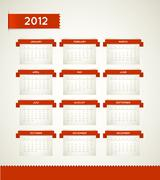 Vector Red Vintage retro calendar for the new year 2012 Stock Illustration